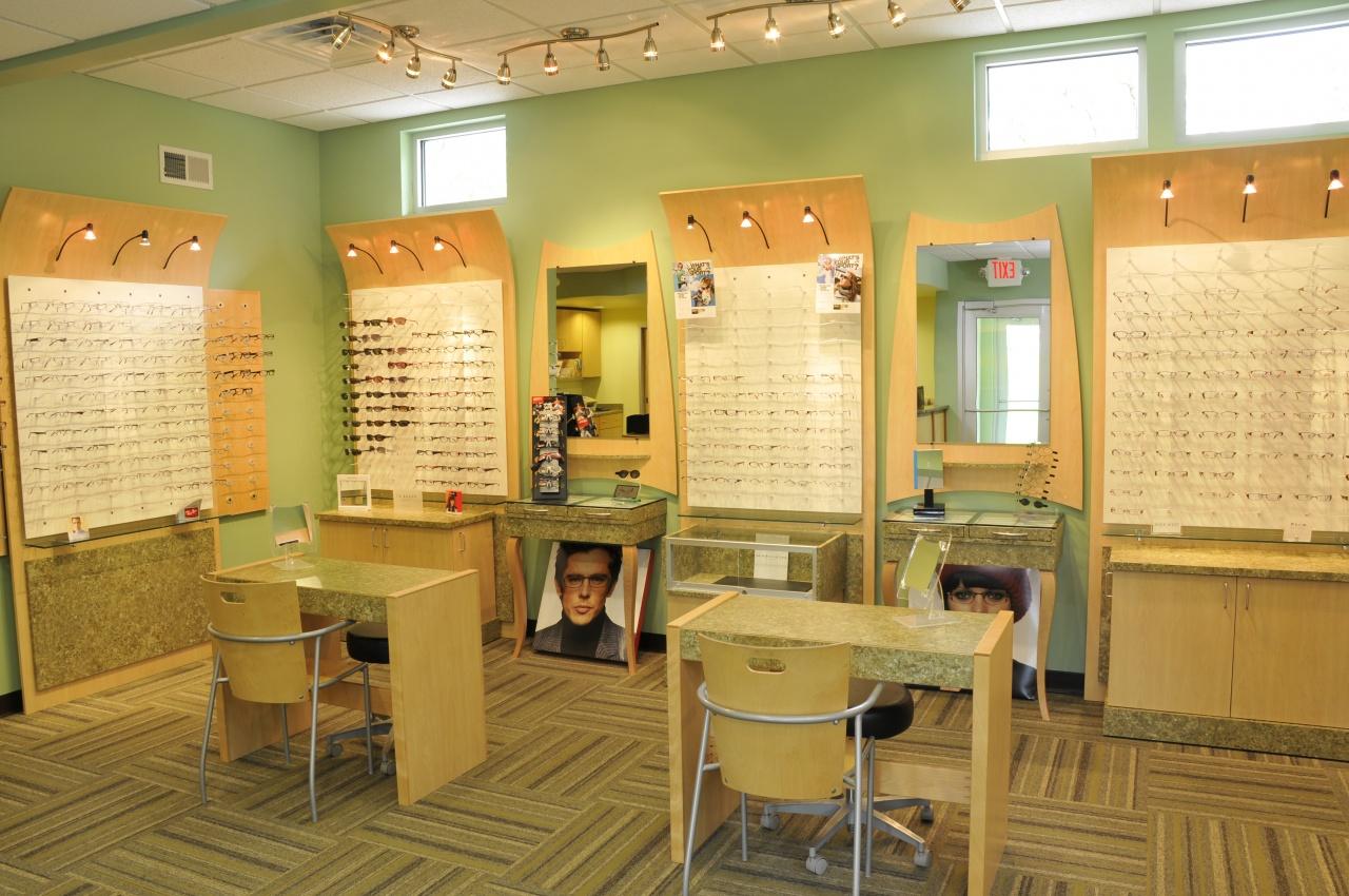 eye glasses dispensary area in optomologist clinic