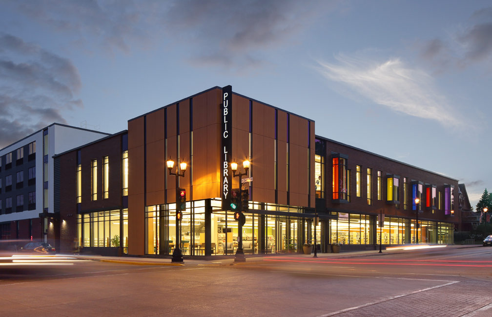 Exterior of Platteville Public Library at dusk